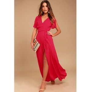 Lulu's MUCH OBLIGED RED WRAP MAXI DRESS